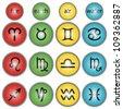 Colorful Zodiac Symbols - Horoscope signs - stock vector