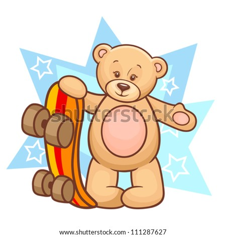 Colorfull Illustration Of Cute Teddy Bear With Skateboard. - stock vector