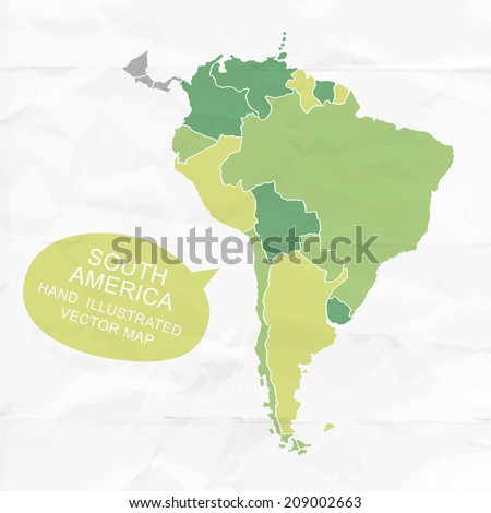 Colorfully vector hand illustrated map of South America. Detailed political map. - stock vector