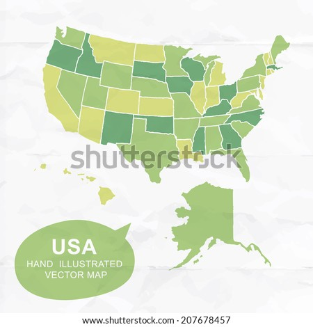Colorfully vector hand illustrated map of United States. Detailed political map. - stock vector