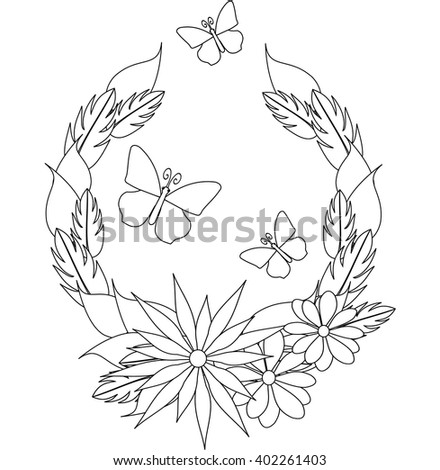 """Coloring antistress """"Wreath with flowers"""". Vector. - stock vector"""