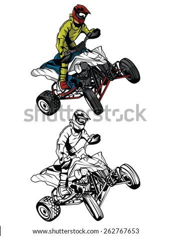 Coloring book ATV moto rider cartoon character - stock vector