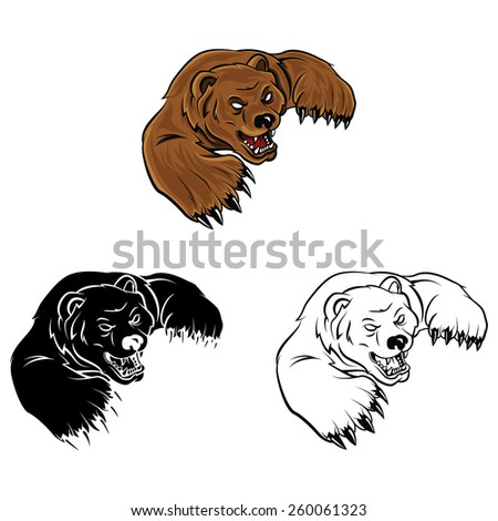 Coloring book Bear cartoon character - vector illustration .EPS10 - stock vector
