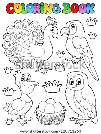 Coloring book bird image 4 - vector illustration. - stock vector