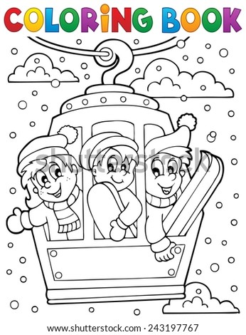 Coloring book cable car theme - eps10 vector illustration. - stock vector