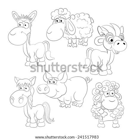 Coloring book. Cartoon animals. Bull, sheep, ram, pig, donkey, horse. - stock vector