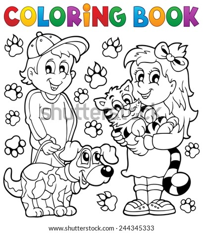 Coloring book children with pets - eps10 vector illustration. - stock vector