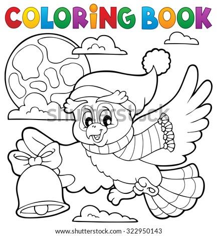 Coloring book Christmas owl theme 1 - eps10 vector illustration. - stock vector
