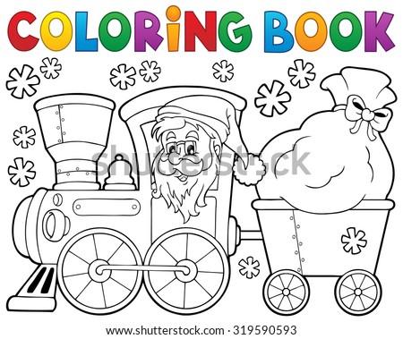Coloring book Christmas train 1 - eps10 vector illustration. - stock vector