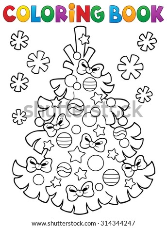 Coloring book Christmas tree topic 3 - eps10 vector illustration. - stock vector