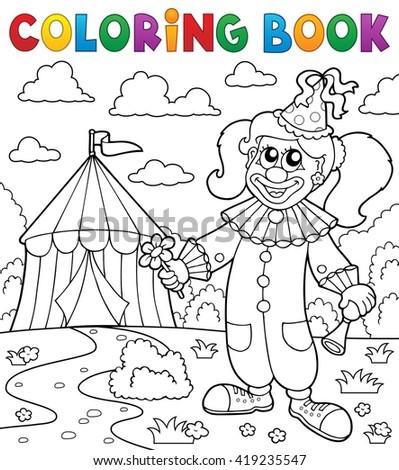 Coloring book clown near circus theme 7 - eps10 vector illustration. - stock vector