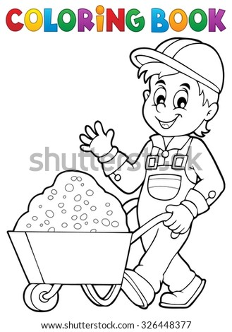 Coloring book construction worker 1 - eps10 vector illustration. - stock vector