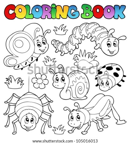 Coloring book cute bugs 1 - vector illustration. - stock vector
