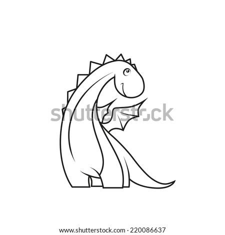 Coloring book: Cute little dragon - stock vector