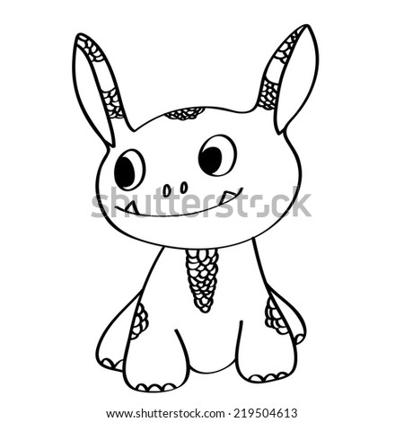 Coloring book: cute little monster - stock vector