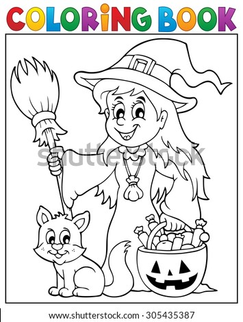 Coloring book cute witch and cat - eps10 vector illustration. - stock vector
