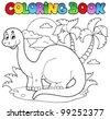 Coloring book dinosaur scene 1 - vector illustration. - stock vector