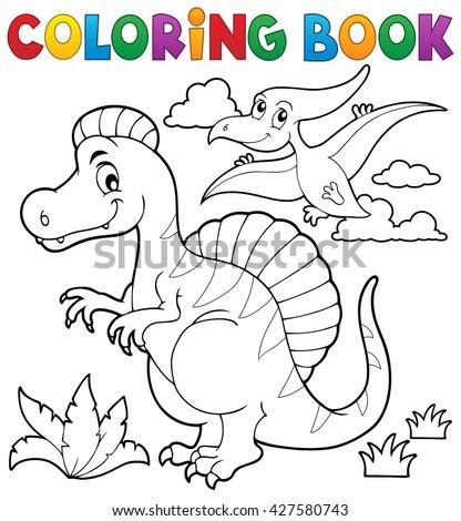 Coloring book dinosaur theme 2 - eps10 vector illustration. - stock vector