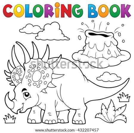 Coloring book dinosaur topic 2 - eps10 vector illustration. - stock vector