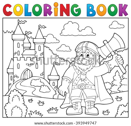 Coloring book dwarf warrior theme 2 - eps10 vector illustration. - stock vector