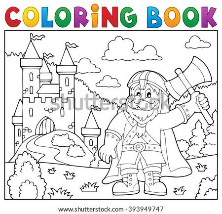 Coloring book dwarf warrior theme 2 - eps10 vector illustration. - stock vector