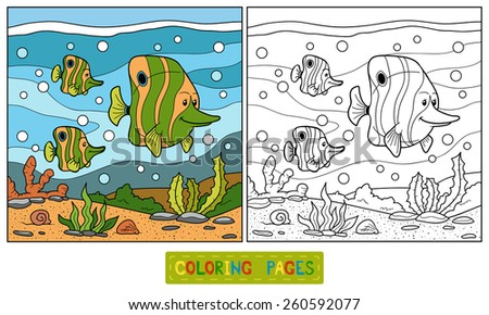 Coloring book (family fish) - stock vector