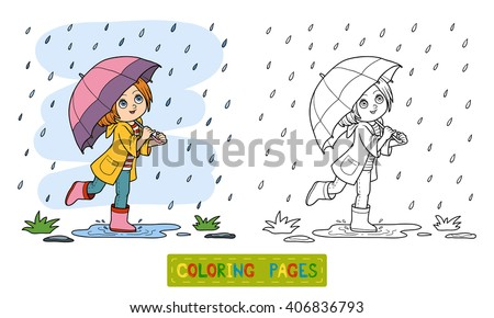 Coloring book for children. Girl running with an umbrella in the rain - stock vector