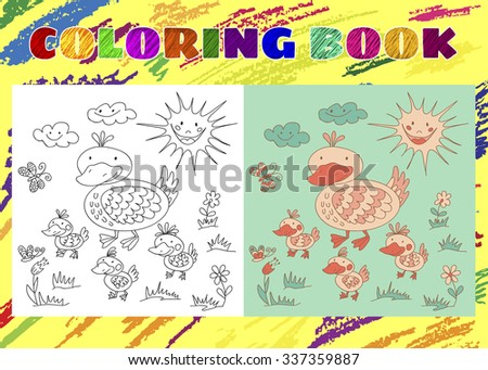 Coloring Book for Kids. Sketchy little pink duck with ducklings on spring meadow in cartoon style. Smiling sun and Sky with clouds. - stock vector