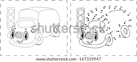 Coloring book. Funny lorry drawing with dots and digits - stock vector