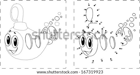 Coloring book. Funny submarine drawing with dots and digits - stock vector