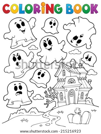 Coloring book ghost theme 2 - eps10 vector illustration. - stock vector