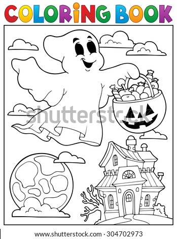 Coloring book ghost theme 5 - eps10 vector illustration. - stock vector
