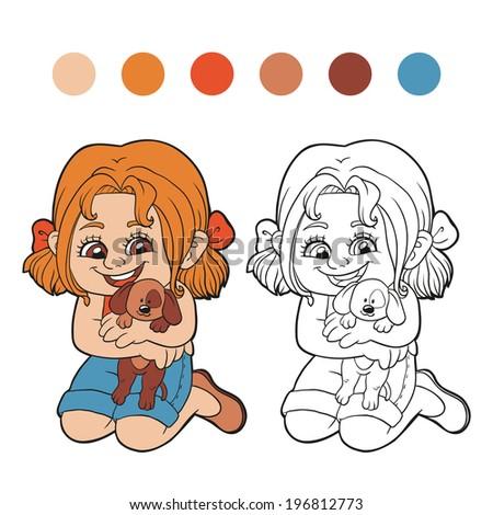 Coloring Book (girl) - stock vector