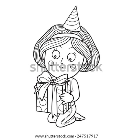 Coloring book (girl with a gift) - stock vector