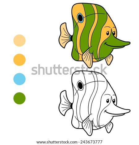 Coloring book (green fish) - stock vector