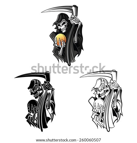 Coloring book Grim Reaper cartoon character - vector illustration .EPS10 - stock vector