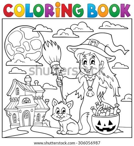 Coloring book Halloween thematics 1 - eps10 vector illustration. - stock vector