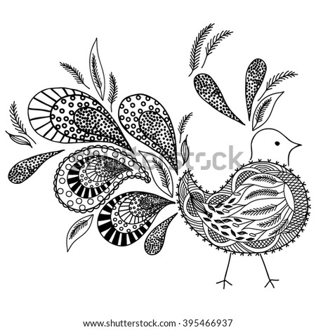 Coloring  book. Hand drawn. Adults, children.Black and white. A set of decorative plant elements. Abstraction. Bird.  - stock vector