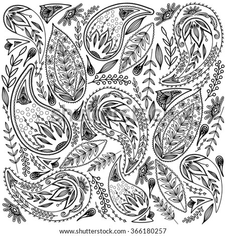 Coloring  book. Hand drawn. For Adults, children.Black and white. A set of decorative plant elements. - stock vector