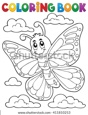Coloring book happy butterfly topic 1 - eps10 vector illustration. - stock vector
