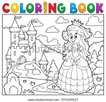 Coloring book happy princess near castle - eps10 vector illustration. - stock vector