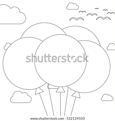 Coloring book - illustration of 5 balloons on sky background - stock vector