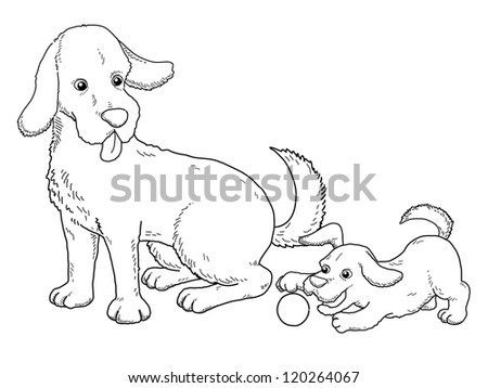 Coloring book - illustration of Dog and puppy - stock vector