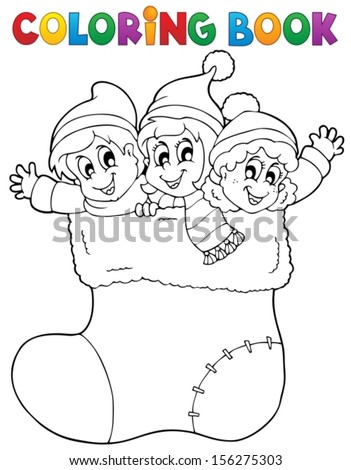 Coloring book image Christmas 1 - eps10 vector illustration. - stock vector