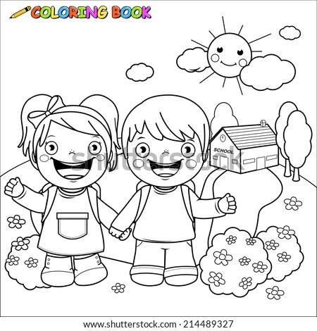 Coloring book Kids at school. Illustration of a black and white outline image of a girl and a boy students at school. Coloring book page. - stock vector