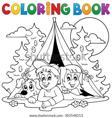 Coloring book kids camping in forest - eps10 vector illustration. - stock vector