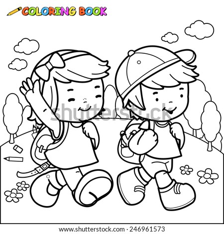 Coloring book kids walk to school. Illustration of  a black and white outline image of a girl and a boy students walking to school. Coloring book page. - stock vector