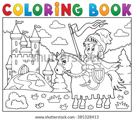 Coloring book knight on horse by castle - eps10 vector illustration. - stock vector