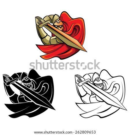 Coloring book Knight Warrior cartoon character - stock vector