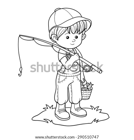 Coloring book (little boy fisher) - stock vector